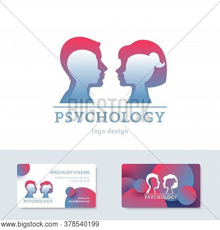 Human Head With Inner Child Inside. Vector Illustration. Psychology Logo Concept. Man And Woman Silh