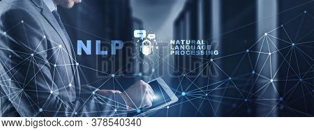 Nlp Natural Language Processing Cognitive Computing Technology Concept On Blurred Server Room.
