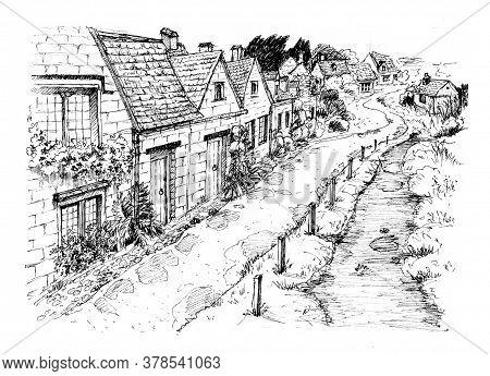 Old European Village. English Village. Ink Sketch.