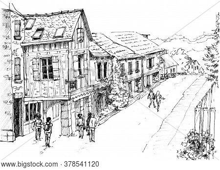 Old European Village. French Village. Najac France. Ink Sketch. Rural Landscape. Place Of Tourism