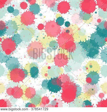 Paint Transparent Stains Vector Seamless Wallpaper Pattern. Cool Ink Splatter, Spray Blots, Mud Spot