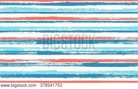 Watercolor Hand Drawn Parallel Lines Vector Seamless Pattern. Funky Linen Fabric Print Design. Vinta