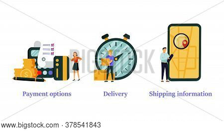 Online Shopping Web Banners Set. Internet Store Purchase E Paying. Order Shipment. Payment Options,