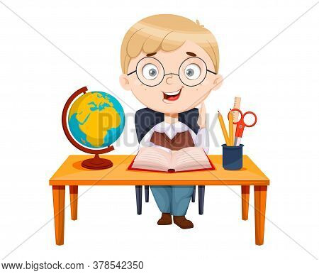 Back To School. Cute Schoolgirl Sitting At The Desk While Geography Lesson. Funny Girl Cartoon Chara