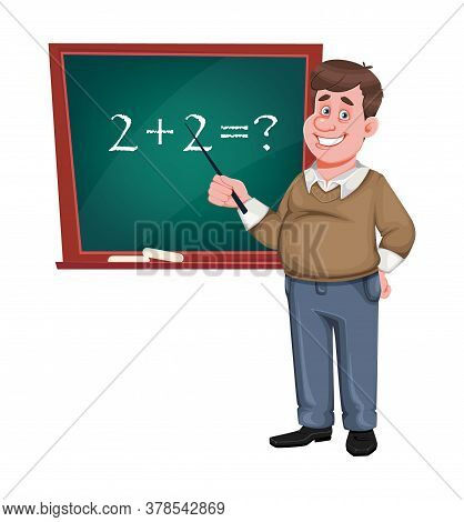 Back To School. Cheerful Male Teacher Of Math Stands Near Chalkboard. Handsome Teacher Cartoon Chara