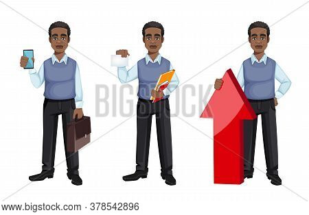 African American Business Man, Set Of Three Poses. Cheerful Handsome Businessman Cartoon Character.