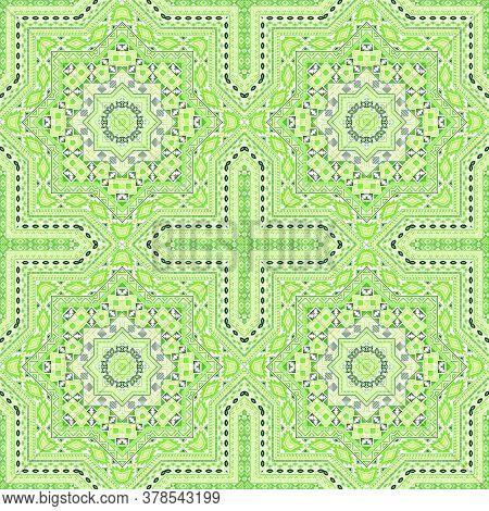 Abstract Victorian Majolica Tile Seamless Rapport. Geometric Texture Vector Motif. Textile Print Des