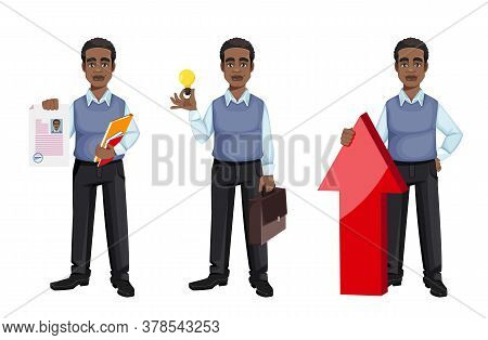 African American Business Man Holding Resume, Having A Good Idea And Standing Near Arrow, Set Of Thr