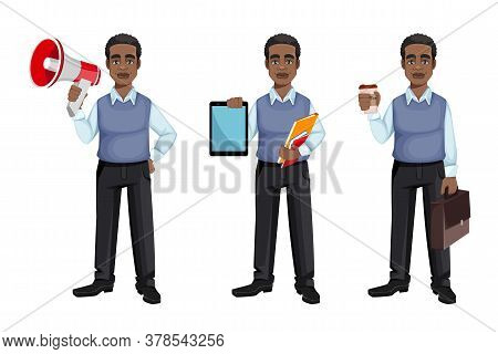 African American Business Man Holding Loudspeaker, Holding Tablet And Holding A Cup Of Coffee, Set O