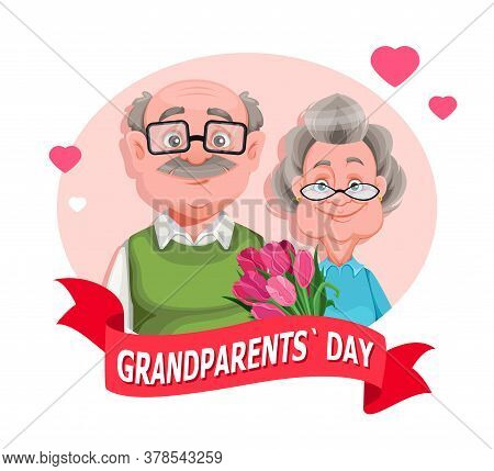 Happy Grandparents Day Greeting Card. Cheerful Grandmother And Grandfather Cartoon Characters. Grand