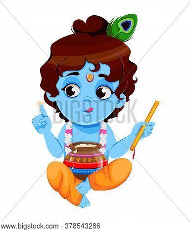 Happy Krishna Janmashtami Sale. Little Lord Krishna Sitting With Flute And Pot. Happy Janmashtami Fe