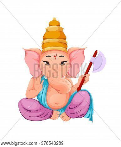 Lord Ganesha, Ganpati Idol In Traditional Indian Clothes For Ganesha Chaturthi Holiday. Vector Illus