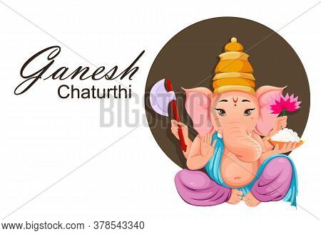 Lord Ganesha. Greeting Card With Ganpati Idol In Traditional Indian Clothes For Ganesha Chaturthi Ho