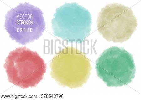 Set Of Watercolor Shapes. Watercolors Blobs. Colorful Watercolor Hand Painted Circles Isolated On Wh