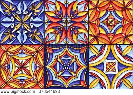 Collection Of Ceramic Tile Pattern. Decorative Abstract Background. Traditional Ornate Mexican Talav