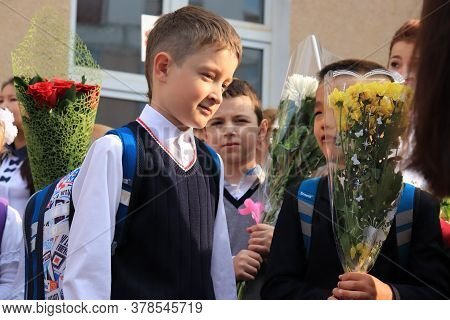 Moscow, Russia - September, 1 2017: The First Call, Children Go To School For The First Time On Sept