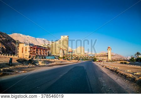 Ain Sokhna, Egypt-Jan 31, 2020: The main road leading to Ain Sokhna, town on the Red Sea coast., Egypt.