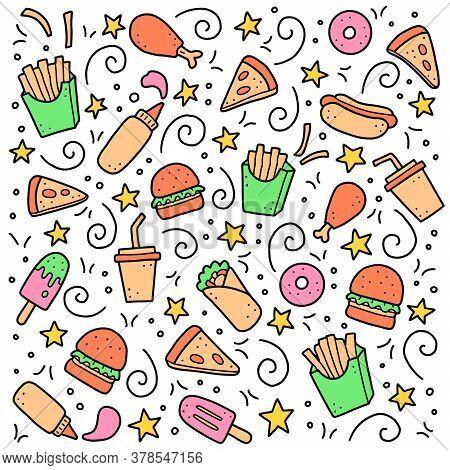 Hand Drawn Set Of Fast Food Elements, Burger, Pizza, Sandwich, Hamburger, Snack. Comic Doodle Sketch