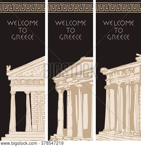 Set Of Three Travel Banners On The Theme Of Ancient Greece With Hand-drawn Greek Attractions. Creati