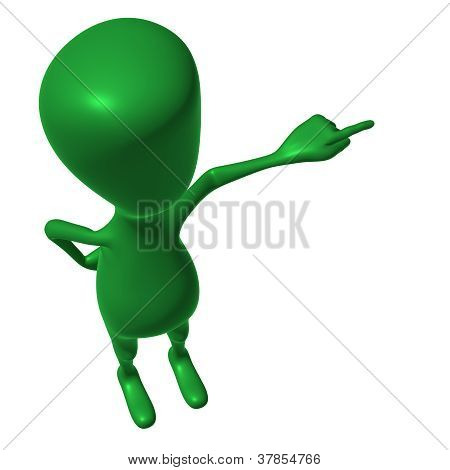 View Green 3D Puppet Mimicking Pointing  Finger