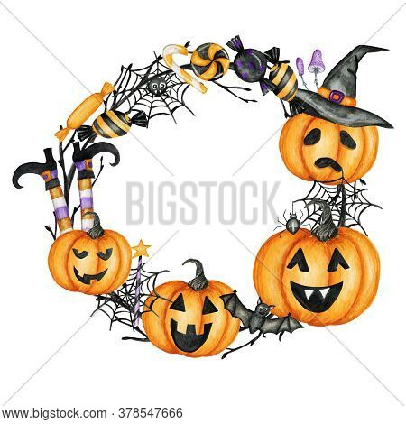 Happy Halloween Holiday Party Frame With Jack O Lantern Pumpkins, Bat, Spider, Candy Sweets Party De