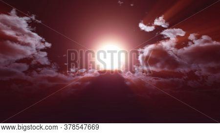 Full Moon At Night Cloud Sky, 3d Render Illustration