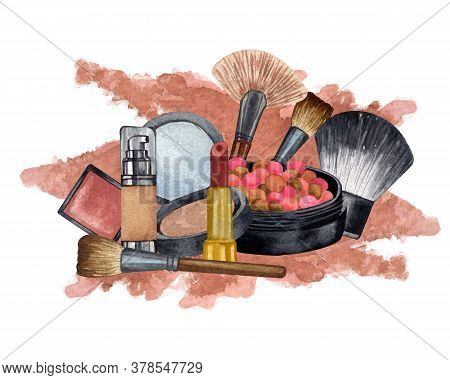 Watercolor Make Up Products. Hand Drawn Cosmetics Set Of Pearl Powder, Brush, Powder, Texture.