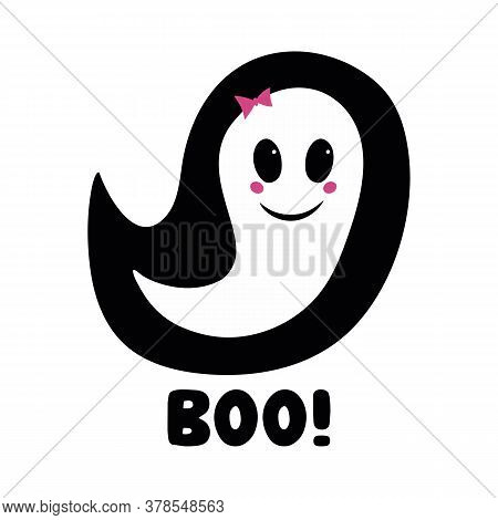 Cute Girl Ghost With Pink Blush, Bow And Boo Word. Halloween Greeting Card. Isolated On White Backgr