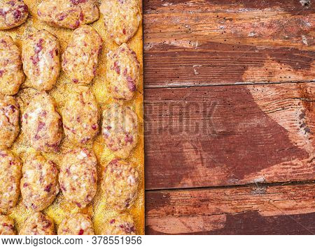 Raw Meat Cutlets On A Wooden Cutting Board. Food Photo. Meat Dish. Preparing Food. Home Kitchen. Rec