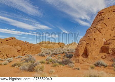 Panoramic Picture Of Colorful Rock Formation In The Valley Of Fire State Park In Nevada X