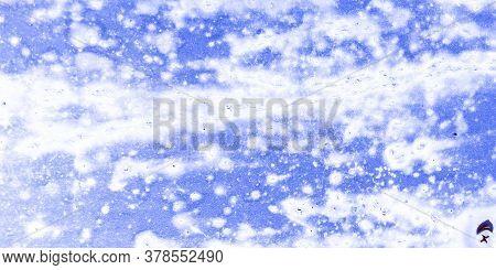 Zinc Metal Texture. Metallic Rough Blue Blanket. Industrial Ocean Poster. Background Zinc Metal Text