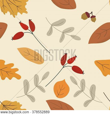 Seasonal Autumn Hand Drawn Seamless Vector Pattern.fall Decorative Endless Background With Dried Lea