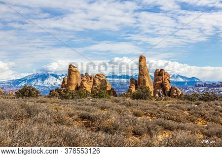 View On Mount Waas In Utah From Arches National Park In Winter