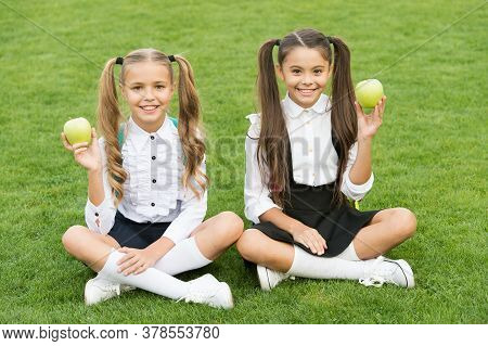 Girls Classmates Eat Healthy School Lunch, Happy Childhood Concept.