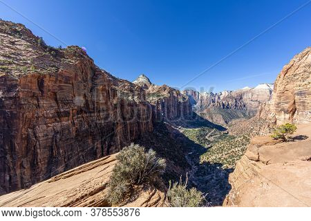 View Over Pine Creek Canyon In The Zion National Park In Winter