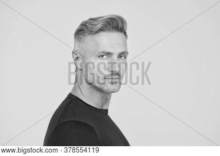 Trendy Short Haircut. Middle Aged Man With Stylish Hair. Hair Salon. Mature Model In Casual Style. B