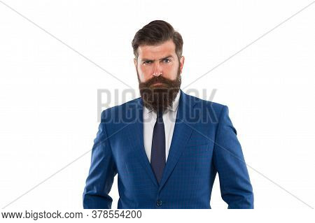 Make Man Look His Best. Bearded Man Isolated On White. Serious Man In Formal Style. Fashion Look Of