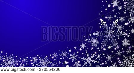 Christmas Background With Various Complex Big And Small Snowflakes, White On Blue