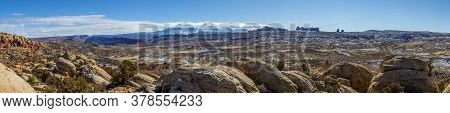 Panoramic Picture Of Mount Waas From Arches National Park In Winter