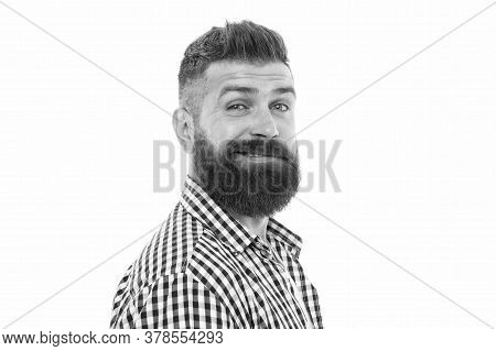 Fashion Model Portrait. Unshaven Head Hair. Bearded Dandy In Trendy Manner. Brutal Caucasian Hipster
