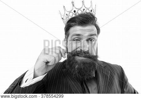 Privileged Guy. Royal Reputation. Power And Influence. Business King. Businessman Wear Crown. Busine