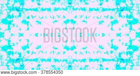 Seamless Pattern Textile Kaleidoscope. Aquarelle Cyan Summer Artwork. Seamless Textile Kaleidoscope