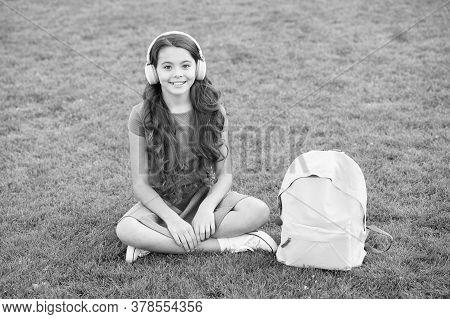 Girl Headphones Listening Music. Modern Technology. Schoolgirl Enjoy Melody. Listen Music Relaxing O