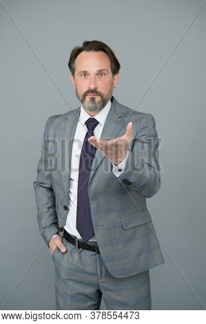 Come For Job. Senior Employee Grey Background. Professional Employee In Formalwear. Company Employer