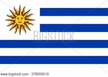 National Flag Of Uruguay With Sun Of May. Country Flag With National Emblem Sol De Mayo On White Can