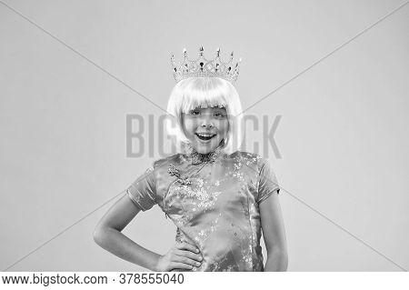 Little Miss Got Reward. Happy Girl Crown Pink Background. Coronate Symbol. Coronavirus Made In China