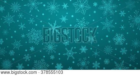 Christmas Background With Various Complex Big And Small Snowflakes, In Light Blue Colors