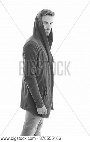 Casual Clothes Are In Style. Serious Man Isolated On White. Handsome Guy In Casual Style. Casual War