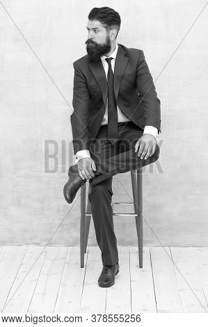 Classy And Formal. Bearded Man Wear Formal Suit. Elegant Lawyer Sit On Chair. Dressing Up For Busine