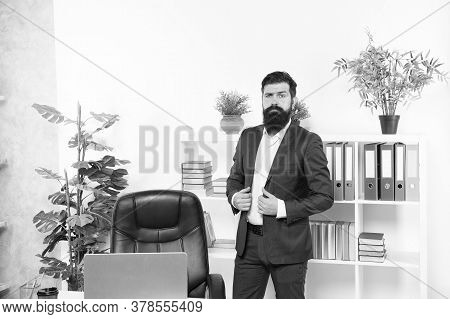 Always Believe In Yourself. Businessman In Office. Confident Businessman At Work. Elegant Businessma